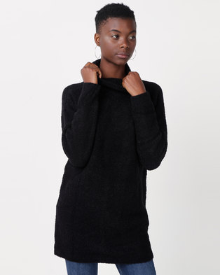 Utopia Sherpa Look Knitwear Tunic Black