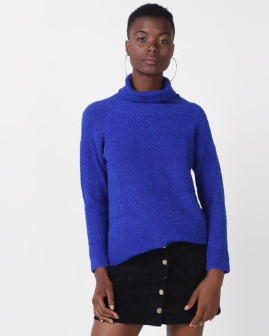 Utopia Sherpa Look Knitwear Tunic Cobalt