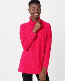 Utopia Sherpa Look Knitwear Tunic Cerise