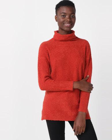Utopia Sherpa Look Knitwear Tunic Rust
