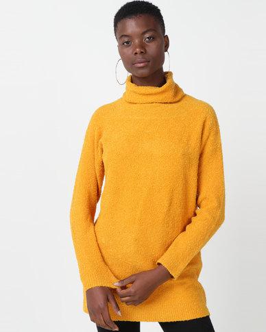 Utopia Sherpa Look Knitwear Tunic Mustard
