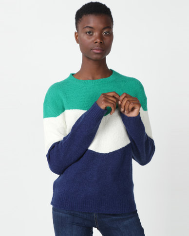 Utopia Colourblock Jumper Navy/Green