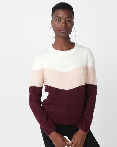 Utopia Colourblock Jumper Burgundy/Pink