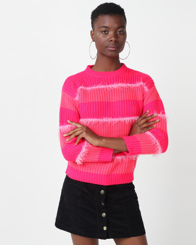Utopia Striped Jumper  Pink/Orange
