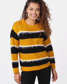 Utopia Striped Jumper Mustard/Black/White