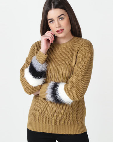 Utopia Jumper With Fluffy Trim Camel