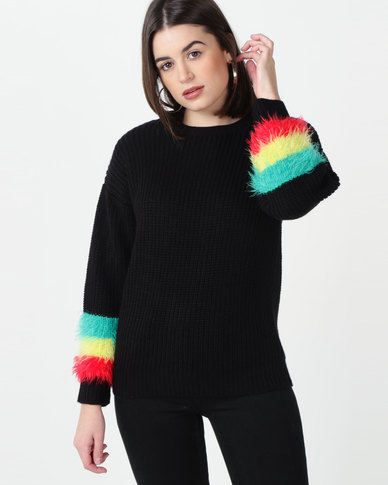 Utopia Jumper With Fluffy Trim Black