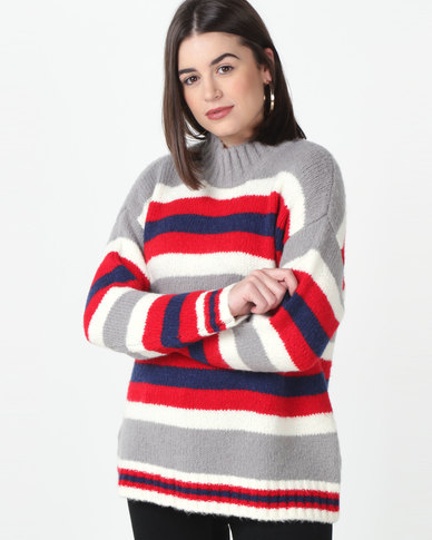 Utopia Striped Jumper Grey/Red/Navy