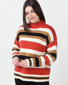 Utopia Striped Jumper Rust/Black