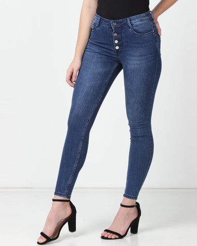 Sissy Boy Ryder High rise With Exposed Buttons Skinny Jeans Dark Blue