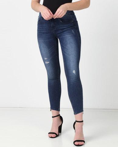 Sissy Boy Jon Jon Low-rise With Side Zip Detail Skinny Jeans Dark Blue
