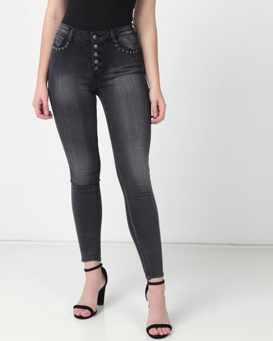 Sissy Boy Ryder High-rise Exposed Studs Skinny Jeans Black