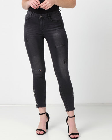 Sissy Boy Axel Mid-rise With Press Studs Detail Skinny Jeans Black
