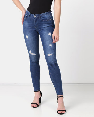 Sissy Boy Axel Mid-rise With Rips Basic Skinny Jeans Dark Blue