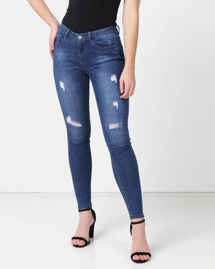 fef1719b6b6d1a Sissy Boy Axel Mid-rise With Rips Basic Skinny Jeans Dark Blue