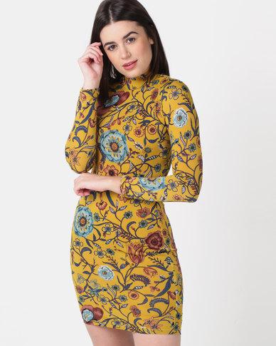 Sissy Boy Turtle Neck Long Sleeve Mini Dress Mustard