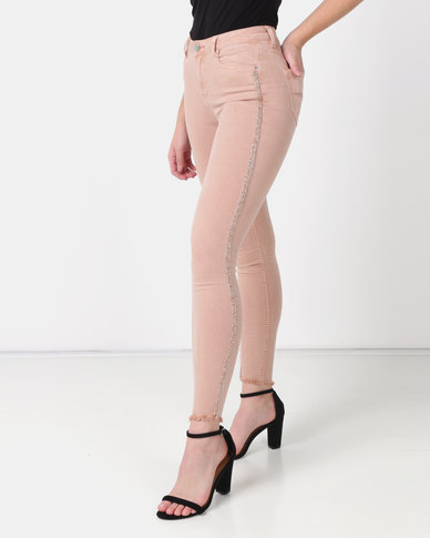 Sissy Boy Axel Mid-rise With Side Tape Skinny Jeans Pink