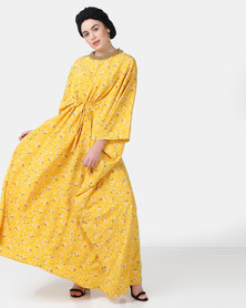 Faisa_Southafrica Floral Beaded Kaftan Yellow