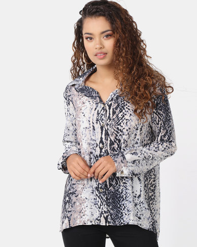 Utopia Snake Print Georgette Blouse Grey