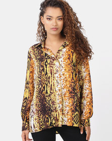 Utopia Snake Print Georgette Blouse Neutral/Yellow