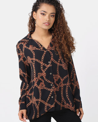 e968c63f48f Utopia Chain Print Georgette Blouse Black