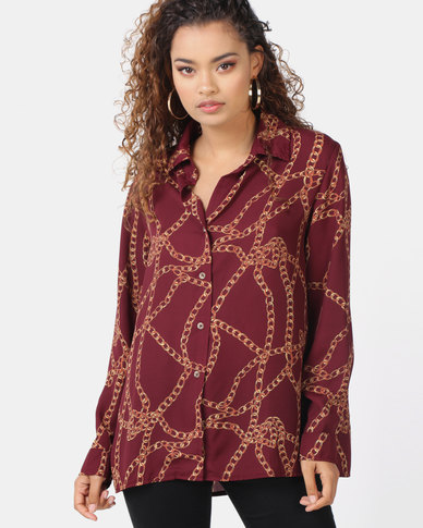 Utopia Chain Print Georgette Blouse Burgundy