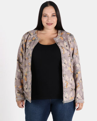Queenspark Plus Collection Butterfly Suedette Woven Jacket Taupe