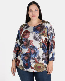 Queenspark Plus Collection Floral Knit Print With Button Detail Multi