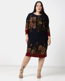Queenspark Plus Collection Border Printed Cashmilion Knit Dress Navy