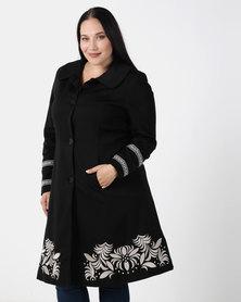 Queenspark Plus Collection Updated Cornelli Ponte Knit Coat Black/Colour