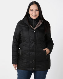Queenspark Plus Collection Loner Length Puffer Woven Coat Black