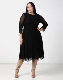 Queenspark Plus Collection Mesh Dress With Iron On Detail Black