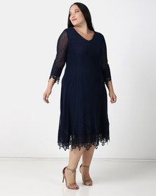 Queenspark Plus Collection Mesh Dress With Iron On Detail Navy