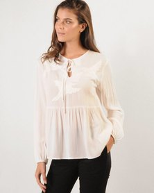 Marique Yssel Embroidered Judy FP Top-Milk
