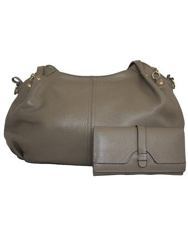 FINO 2 Piece Genuine Leather Handbag & Purse SetSTONE