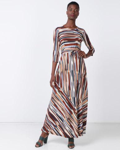 Queenspark Multi Stripe Buckle Detail Knit Dress Multicoloured