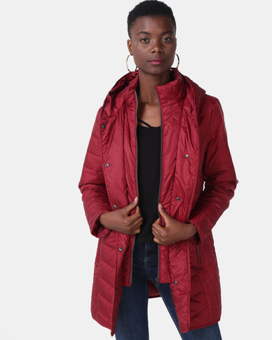 Queenspark Quilted Zip Through Woven Puffer Jacket Red