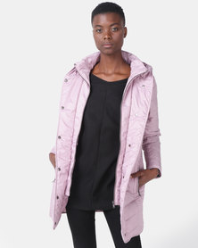 Queenspark Quilted Zip Through Woven Puffer Jacket Pink