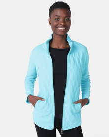Queenspark Long Sleeve Quilted Zip Through Fleece Jacket Aqua