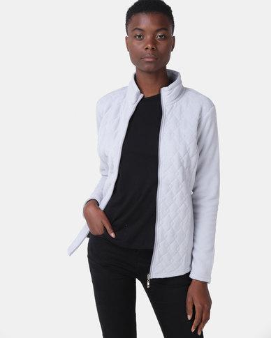 Queenspark Long Sleeve Quilted Zip Through Fleece Jacket Grey