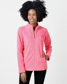 Queenspark Embroidered Long Sleeve Polar Fleece Coral