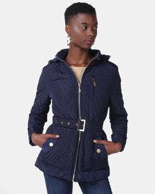 Queenspark Long Sleeve Quilted Zip Through Fleece Jacket Navy