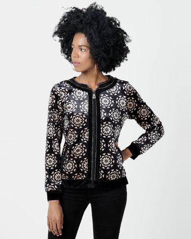 Queenspark Printed Velour Knit Jacket Black/Colour
