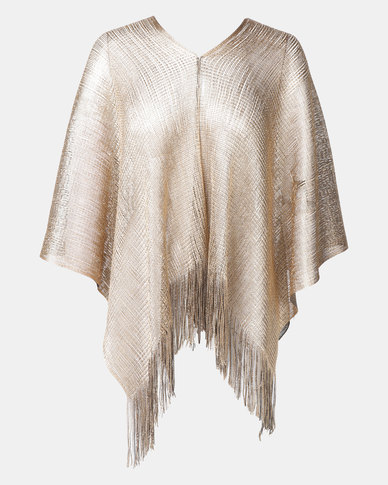 Queenspark Glam Reversible Poncho Gold