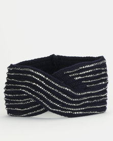 Queenspark Diamante Knit Hat Navy