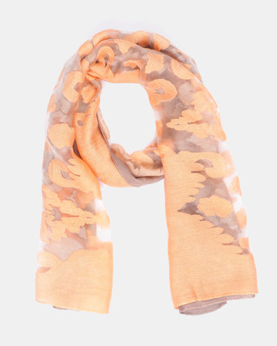 Queenspark Two Tone Burnout Scarf Taupe