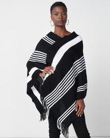 Queenspark Striped Poncho Black/White