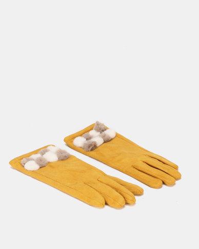 Queenspark Multi Faux Trim Knit Gloves Mustard