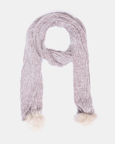 Queenspark Chenile with Faux Fur Pom Pom Scarf Taupe