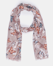 Queenspark Butterfly Sequins Scarf Taupe